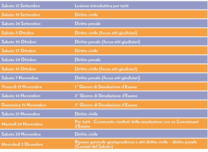 Calendario Lezioni Corso di Formazione Esame di Stato Avvocato Giappichelli Progetto Forense